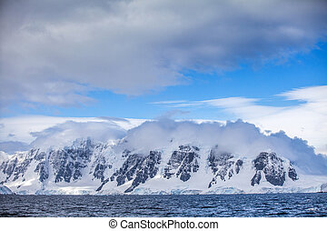 Landscapes Antarctica beautiful snow-capped mountains against the blue sky