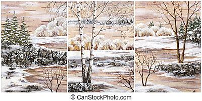 Landscapes, distemper on a bark