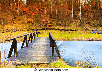 Old, wooden, small bridge on frozen lake