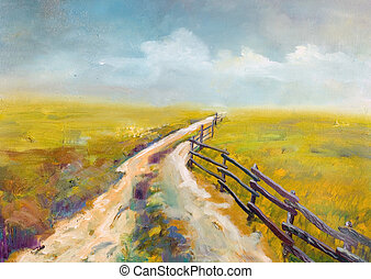 Village road, this is oil painting and I am author of this image