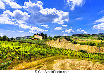 landscapes., włochy, tuscany, piękny