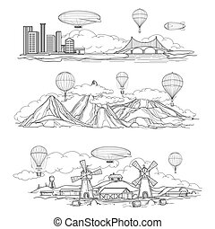 Hand drawn urban country and mountain landscapes with hot air balloons and airships parade. Vector illustration