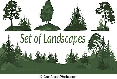 Landscapes with Trees Silhouettes - Set Landscapes, Isolated...