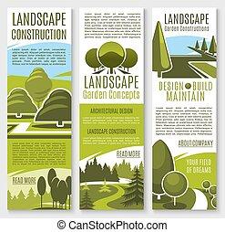 landscaping, compagnie, vecteur, bannières, nature