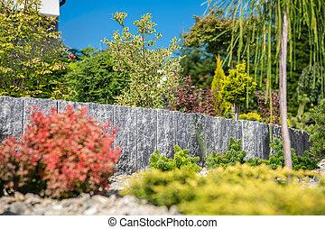 Landscaping Design Of Residential Garden.