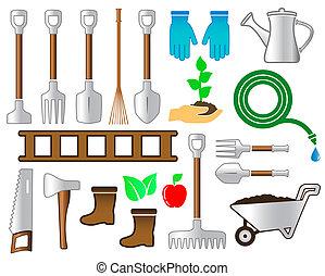 landscaping, ensemble, outils jardinage, coloré