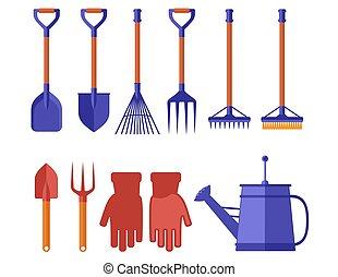landscaping, gereedschap, tuinieren, tuin, kleurrijke