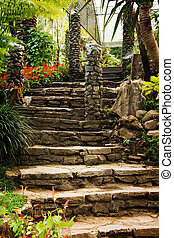 Landscaping in the garden. The path in the garden with pond in asian style