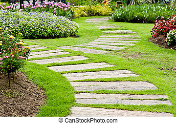Landscaping in the garden. The path in the garden. -...