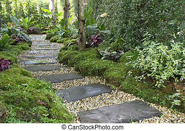 Landscaping in the green garden. pathway in park,curve walkway with stone tile