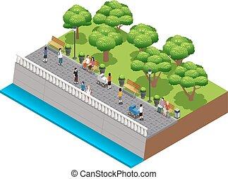landscaping, isométrique, composition, gens