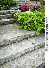 landscaping, pierre, escalier