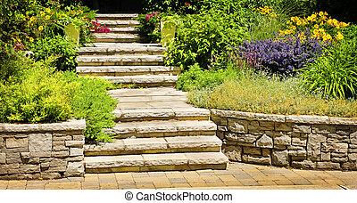 landscaping, pierre, naturel