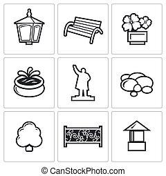 landscaping, vecteur, icons., illustration