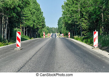 landschaft, asphaltstraße, rekonstruktion