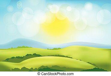 landschaft, backgr, vektor, landschaftsbild