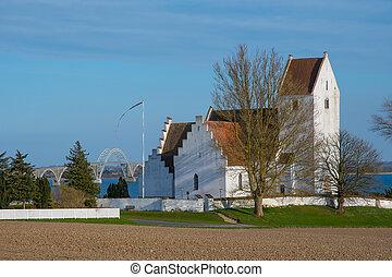 landschaft, dänisch, kalvehave, kirche
