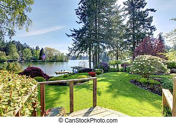 landschaft., deck, fruehjahr, see, hinterhof, ansicht