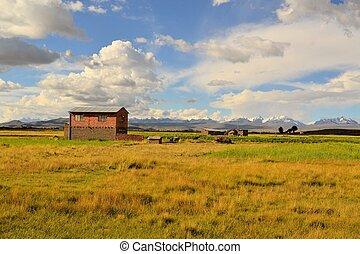 landschaft, haus, bolivien, adobe, landwirt