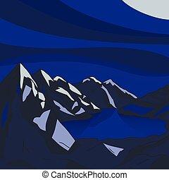 landschaft., illustration., berg, modern, see, vektor, nacht, gletscher