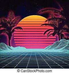landschaft., landschaftsbild, zukunftsidee, science-fiction, digitaler hintergrund, style., 80s, retro, cyber, surface., 1980s, sommer, mode, party