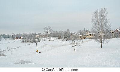 landschaft, leute., winterlandschaft, verschneiter
