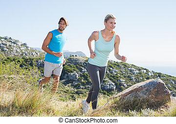 landschaft, paar, durch, jogging, anfall