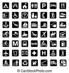 landschaft, park, zeichen & schilder
