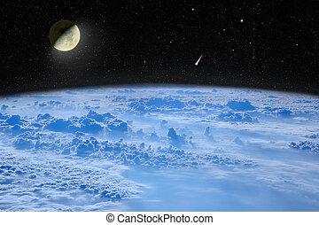 landschaft., raum, starry, aus, himmelsgewölbe, mond, planet, komet, earth.