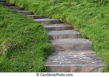 landschaft, stein, treppe