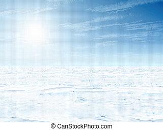 landschaft., vektor, winter, abbildung