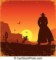 landschaft., wild, amerikanischer westen, vektor, plakat, westlich