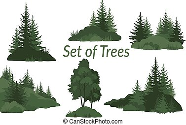 landschaften, mit, bäume, silhouetten