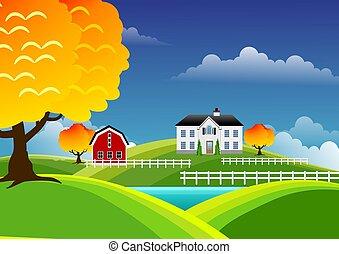 landschaftlich, bauernhof, landschaftsbild