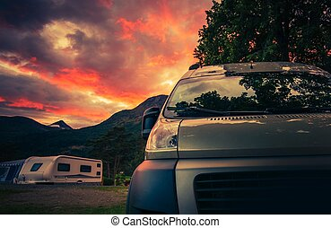 landschaftlich, campingbus, park, camping