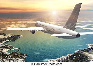 landschaftlich, flug, sonnenuntergang, verkehrsflugzeug