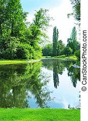 landschaftlich, see, in, der, sommer, park