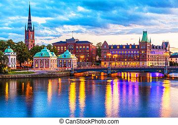 landschaftlich, stockholm, abend, schweden, panorama