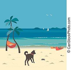 landschaftlich, strand, trauminsel, karikatur, ansicht