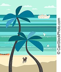 landschaftlich, strand, veiw, plakat
