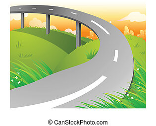 landschaftsbild, überführung, grün, aus