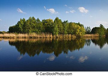 landschaftsbild, auf, a, see, in, germany.
