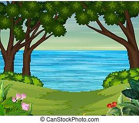 landschaftsbild, fluß, hintergrund, wald