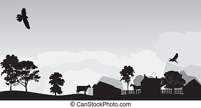 landschaftsbild, grau, bäume, dorf