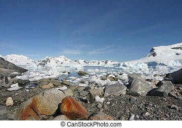 landschaftsbild, in, antarktis, auf, a, beinahe, wolkenlos,...