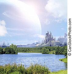landschaftsbild, in, fantasie, planet