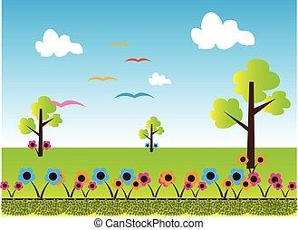 landschaftsbild, karikatur, hintergrund, natur