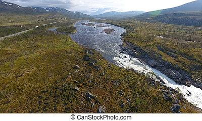 landschaftsbild, luftaufnahmen, sonnig, fluß, norwegen, tag, ansicht
