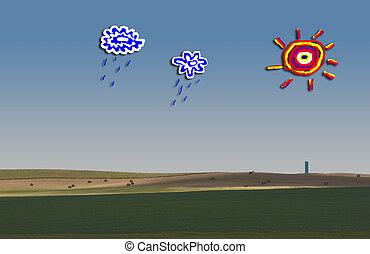 landschaftsbild, mit, childs, zeichnung, von, sonne, und, wolkenhimmel