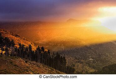 landschaftsbild, mit, dramatisch, licht